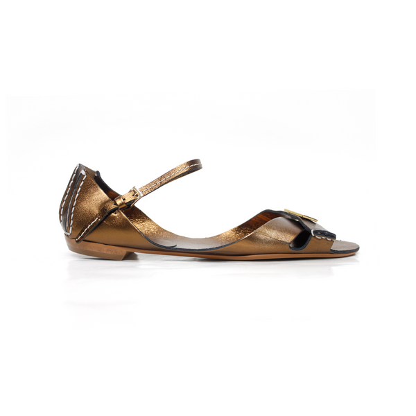 Tajali Leather Sandals - Metallic Marrone - TARBAY