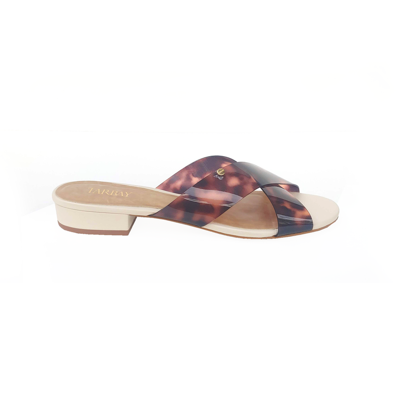 Manila Crossed Leather Sandals - Caramel - TARBAY