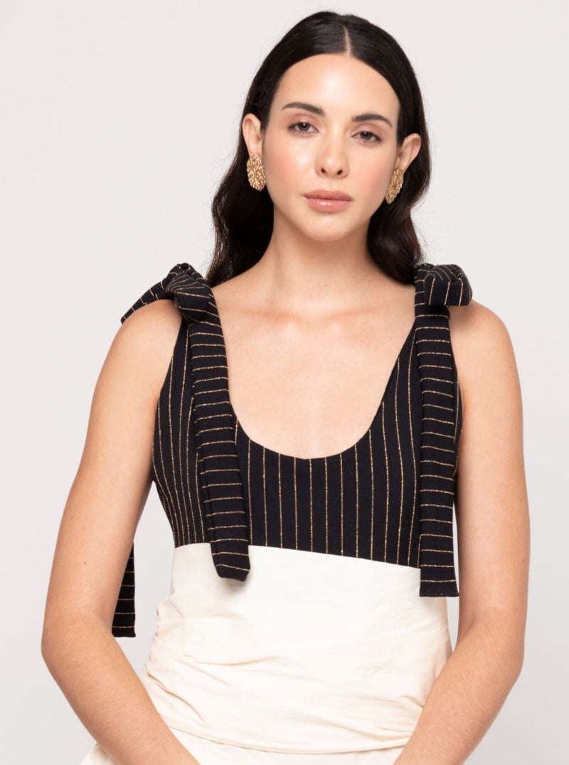 Veronica Striped Body Suit - Black & Gold - TARBAY