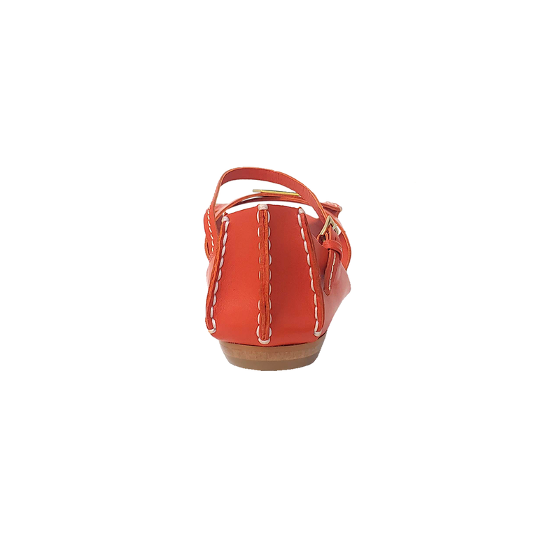 Tajali Leather Sandals - Orange - TARBAY