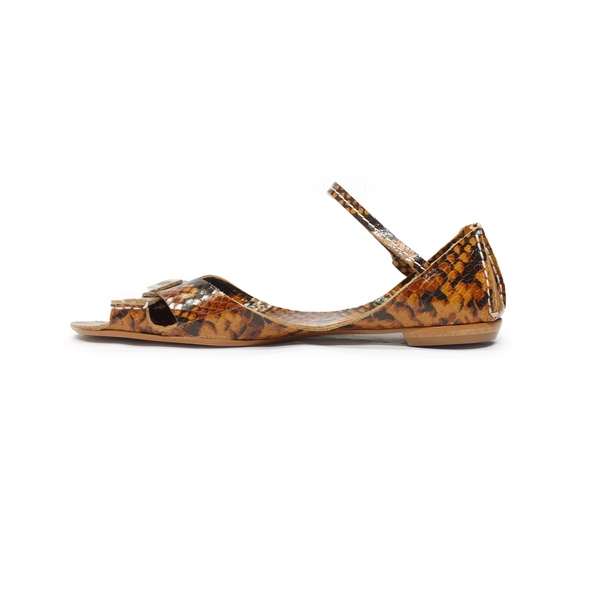 Tajali Leather Sandals - Honey Print - TARBAY