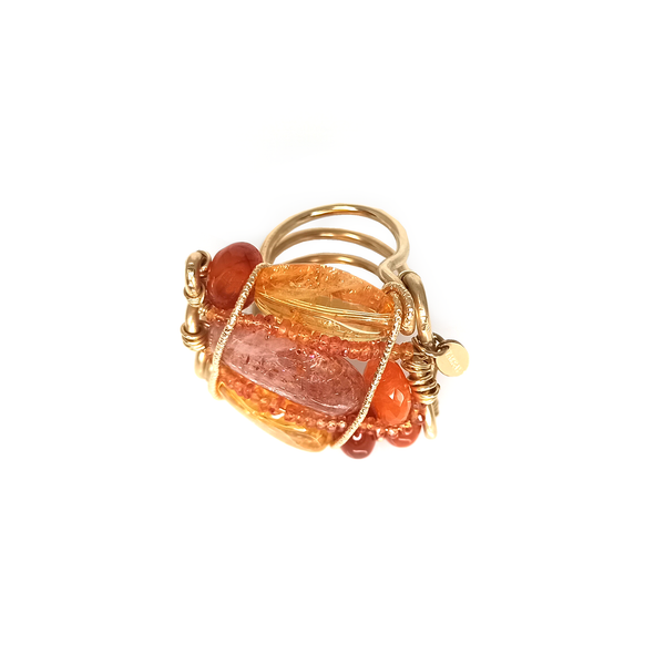 Mermelada Orange and Yellow Ring - Cornelian, Fire Opal, Spessartite, Moon Stone, Citrine, Imperial Topaz, Yellow aquamarine & Calcite - TARBAY