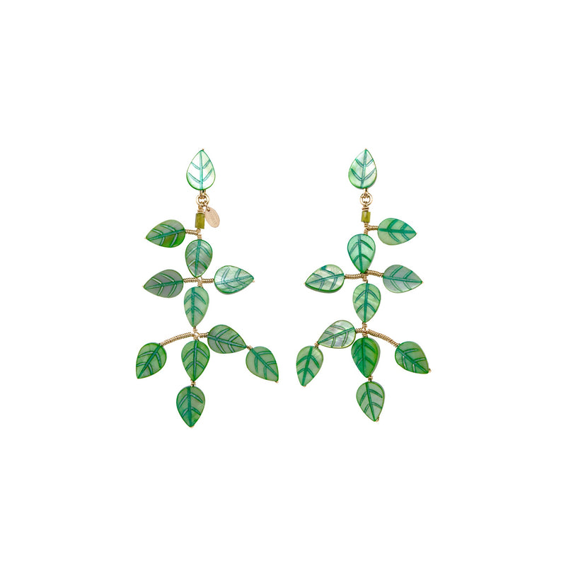 Adasan Dangle Earrings - Green Nacre & Peridot - TARBAY