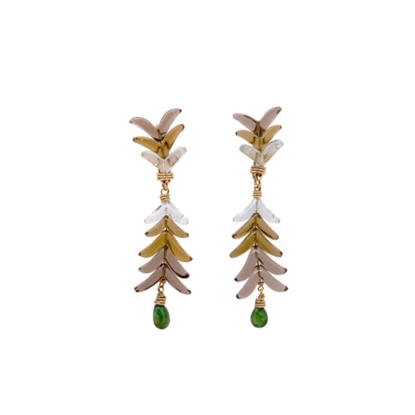 Apana Earrings - Quartz, Green Amethyst & Tsavorite