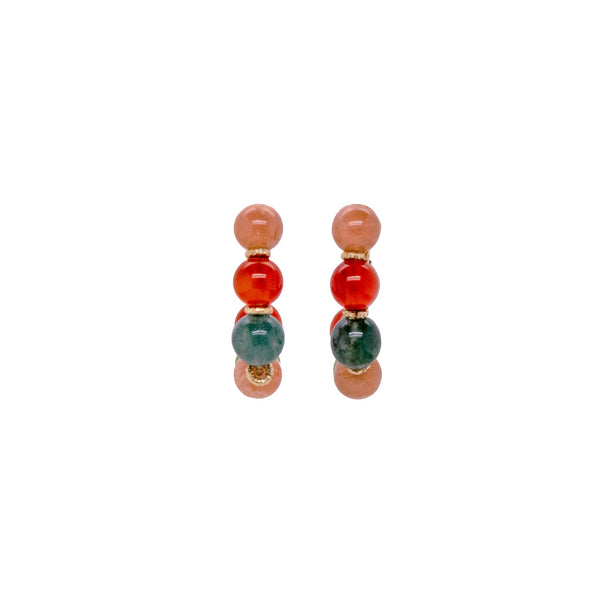Acerola Hoop Earrings (25mm) - Moon stone, jade, carnelian