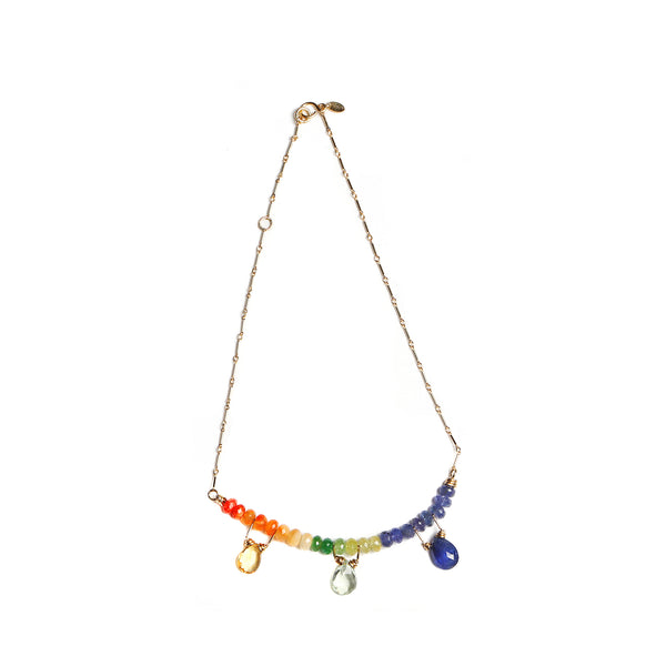 Aicha Arcoiris Necklace - Tanzanite, emerald, garnet, peridot, fire opal