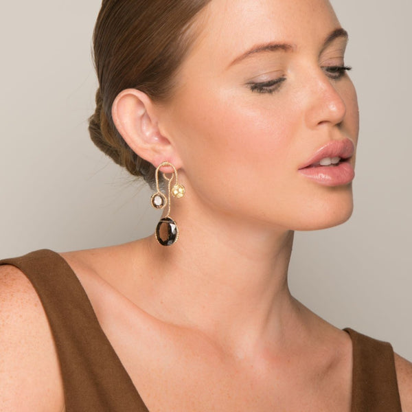 Lilli Dangle Earrings - Smoky Quartz & Citrine - TARBAY