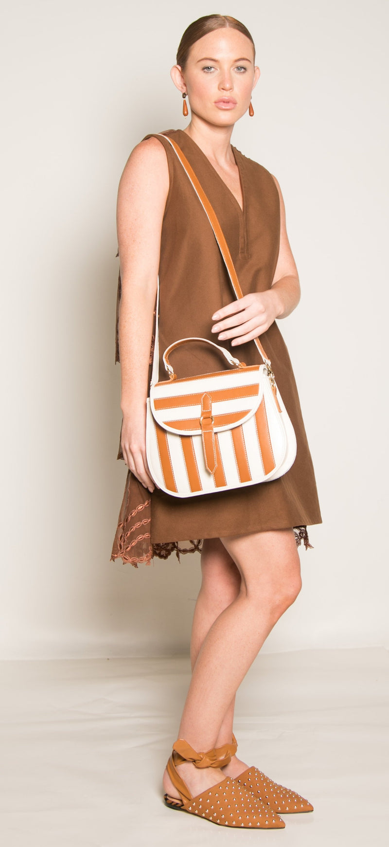 Yarake Leather Flap Bag - Striped Caramel & White