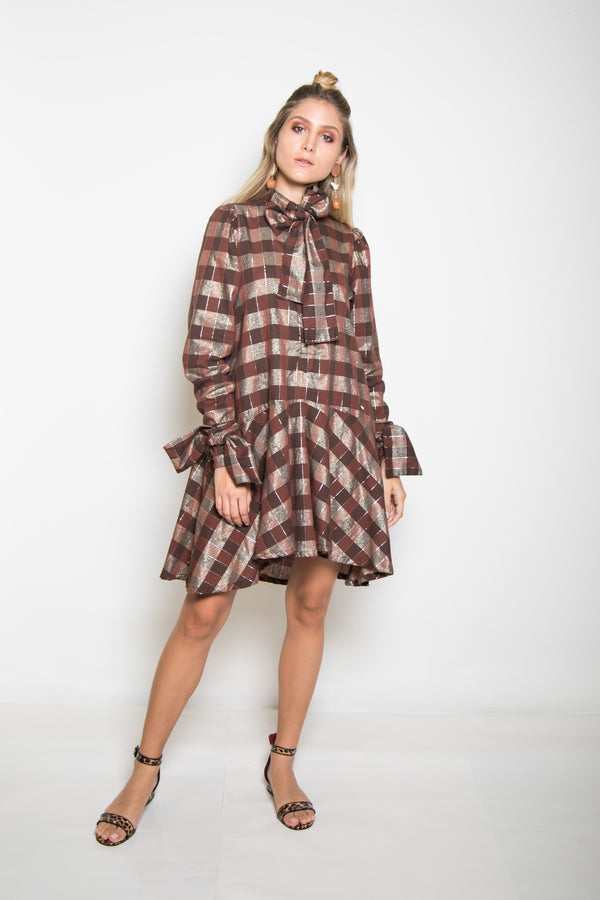 Nereida Dress - Brown - TARBAY