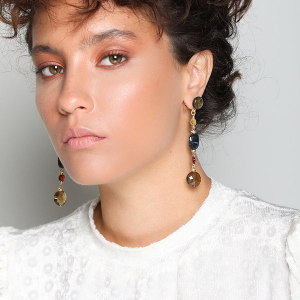 Siruma Dangle Earrings - Nacre, Citrine, Kyanite, Garnet & Smoky Quartz - TARBAY