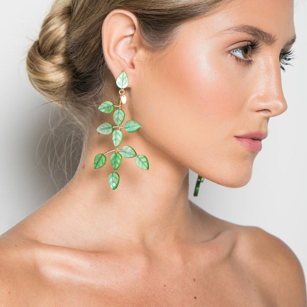 Adasan Dangle Earrings - Green Nacre & Peridot