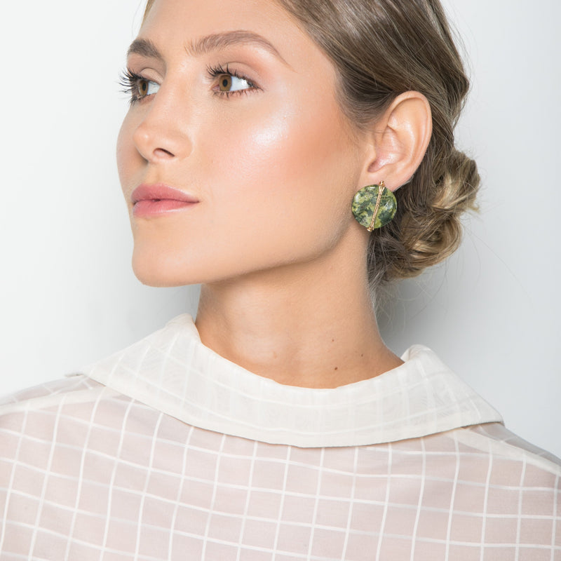 Mauritia Button Earrings - Jasper - TARBAY