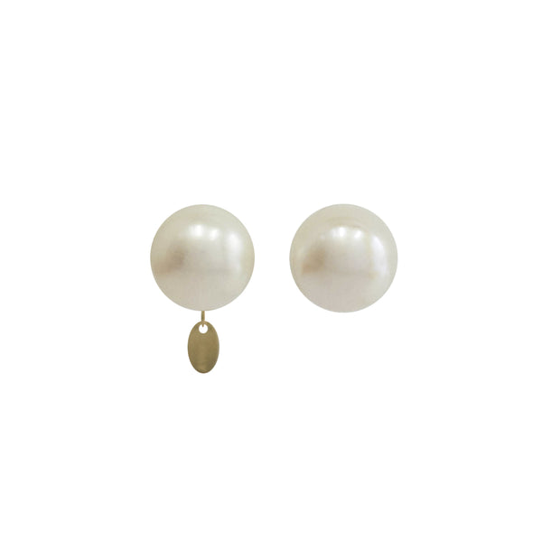 Classic Pearl Earrings (11-12mm) - White Pearl - TARBAY