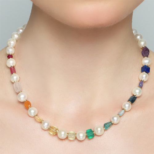 Gemmarum Necklaces- Pearl,ruby,tourmaline,morganite, citrine,topaz, phrinite, Onyx, apatite,aquamarine, topaz,tanzanite,lapislasuli, amethyts - TARBAY