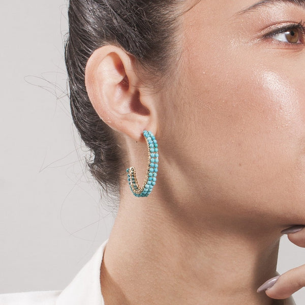Cleopatra Hoop Earrings (30mm) - Turquoise