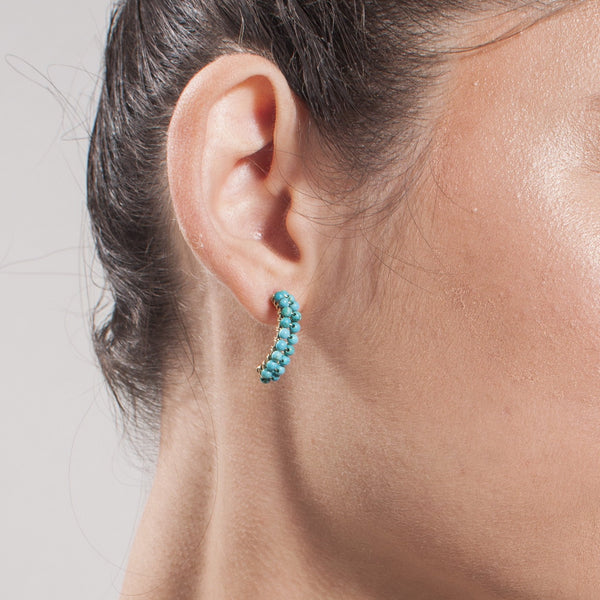 Cleopatra Hoop Earrings (15mm) - Turquoise