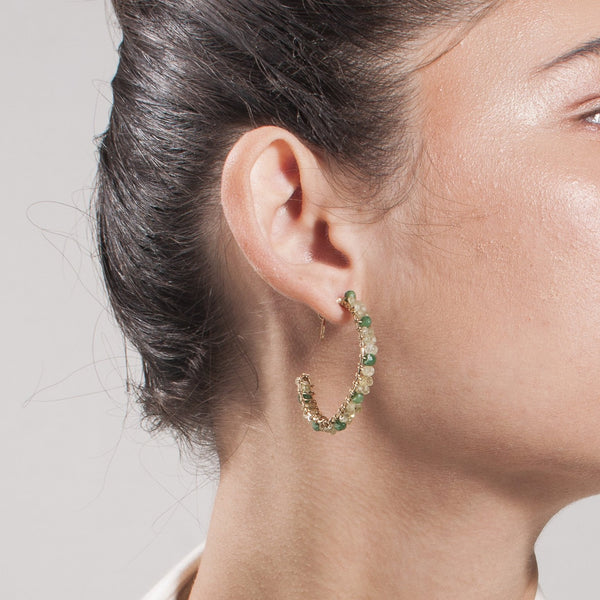 Cleopatra Hoop Earrings (30mm) - Peridot & Green Sapphire