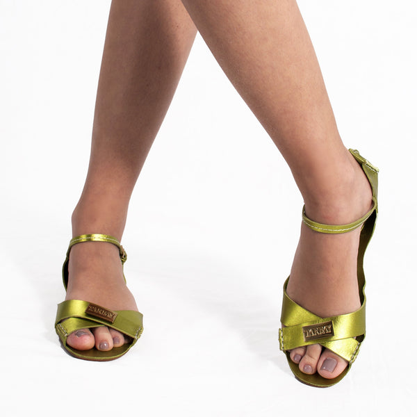 Tajali Leather Sandals - Metallic Lime - TARBAY
