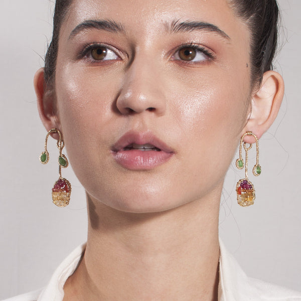 Lilli Button Dangle Earrings - Citrine, Cornelian, Spessartite, Tourmaline, Emerald & Sodalite