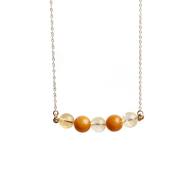 Rosetta Necklace - Yellow Jade & Citrine - TARBAY