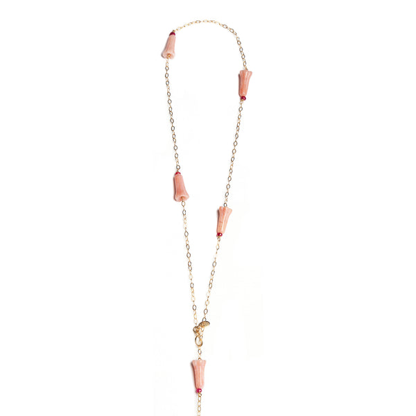 Branwen Necklace #3 - Rose Opal & Ruby