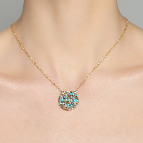 Aura Necklace #2 (20mm) - Turquoise Gems Mix