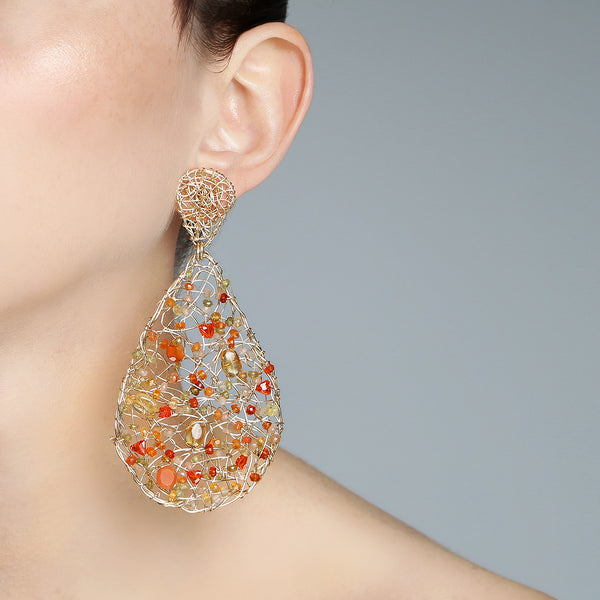 Gota Button Dangle Earrings (70mm) - Cornelian, fire opal, spessartite, moon stone salmon, sun stone - TARBAY