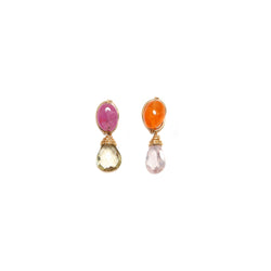 Serpentina Earring (30mm) -Sapphire, Spessartite, Rose Quartz & Topaz - TARBAY