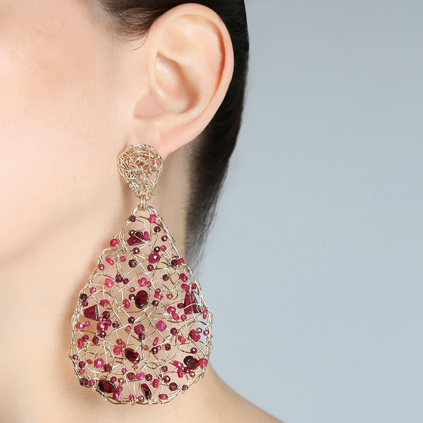 Gota Button Dangle Earrings (70mm) - Ruby, garnet & tourmaline - TARBAY