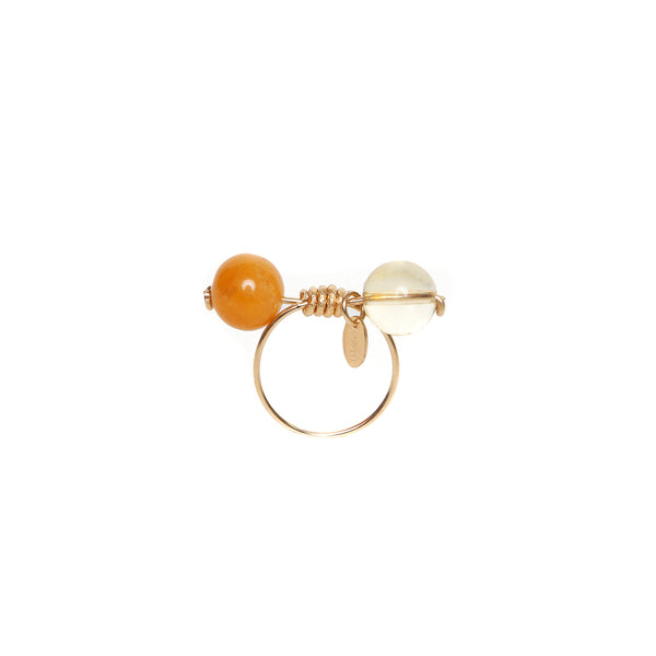 Rosetta Ring - Yellow Jade & Citrine