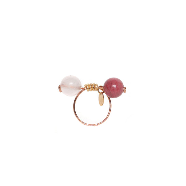 Rosetta Ring - Rose Quartz & Rhodochrosite