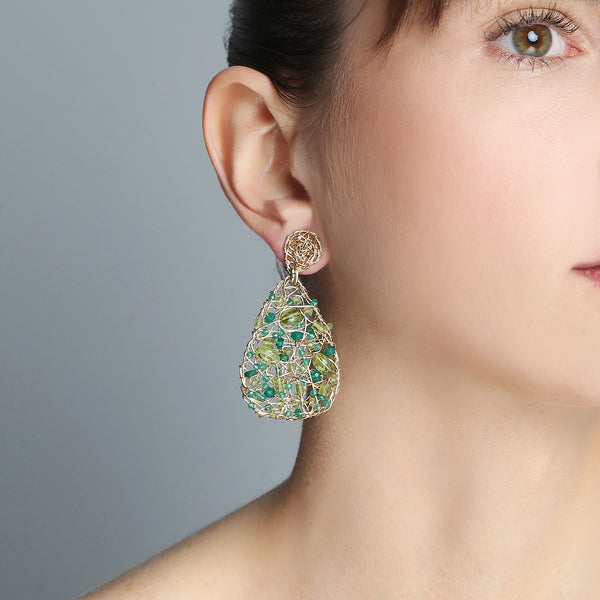 Gota Button Dangle Earrings (40mm) - Peridot, Emerald, Green Onyx, Chalcedony, Prehnite, Versonitte, Green Amethyst, Chrysophase - TARBAY