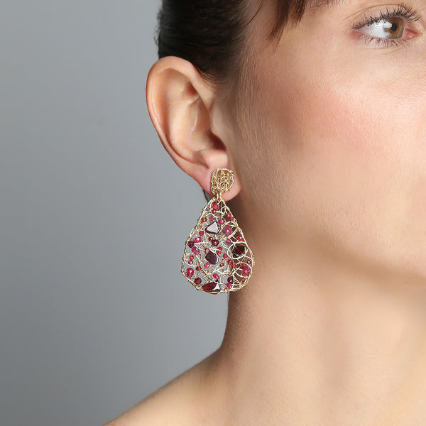 Gota Button Dangle Earrings (40mm) - Ruby, garnet & tourmaline - TARBAY
