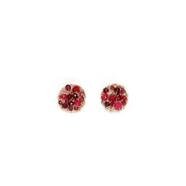 Aura Earring #1 (10mm) - Red Gems Mix