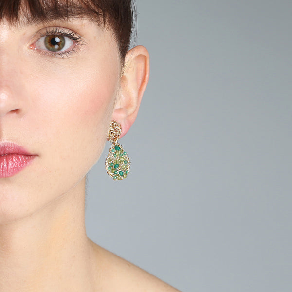 Gota Button Dangle Earrings (20mm) - Peridot, Emerald, Green Onyx, Chalcedony, Prehnite, Versonitte, Green Amethyst, Chrysophase - TARBAY