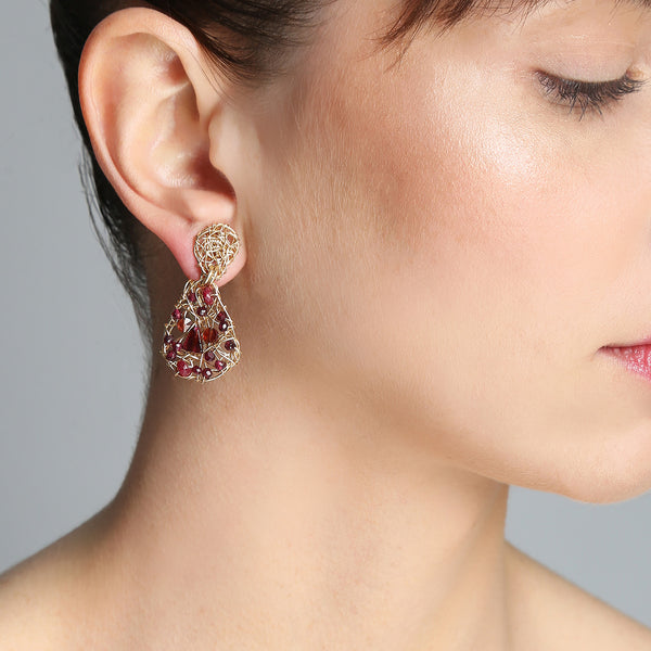 Gota Button Dangle Earrings (20mm) - Ruby, garnet & tourmaline - TARBAY