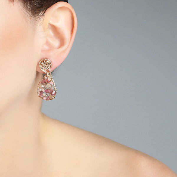 Gota Button Dangle Earrings (20mm) - Rhodochrosite, rose sapphire, rose topaz, rose tourmaline & rose quartz - TARBAY