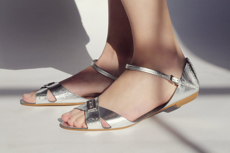 Tajali Leather Sandals - Metallic Silver - TARBAY