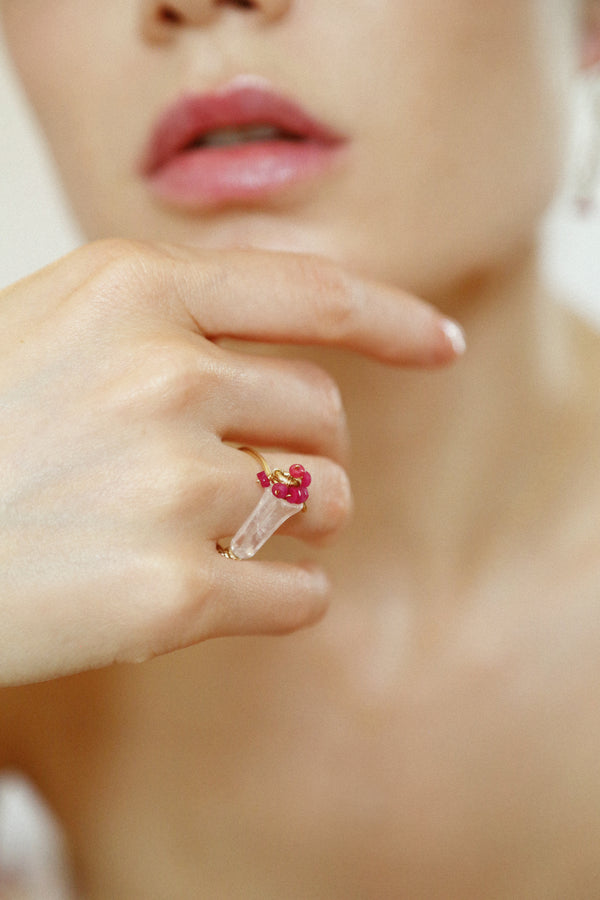 Branwen Ring #2 - Rose Quartz & Ruby - TARBAY