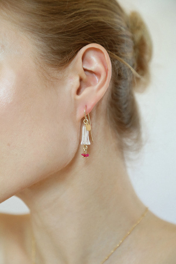 Branwen Earring - Rose Quartz & Ruby
