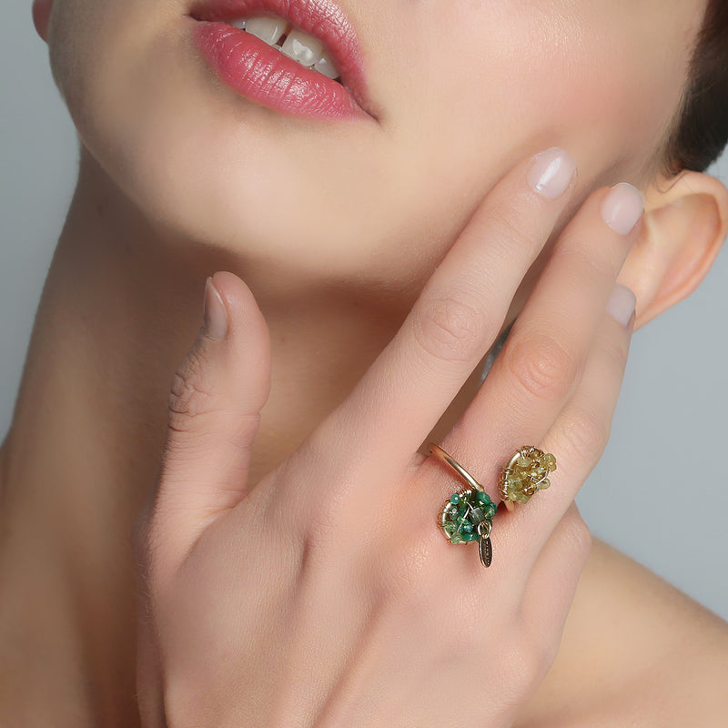 Lucia Adjustable Green Ring - Peridot, Emerald, Green Onyx, Chalcedony, Phrinite, Versonitte, Green Amethyst, Chrysophase - TARBAY