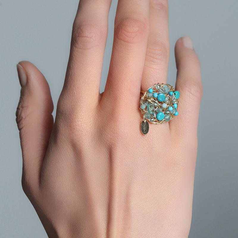 Aura Ring #1 (20mm) - Turquoise Gems Mix