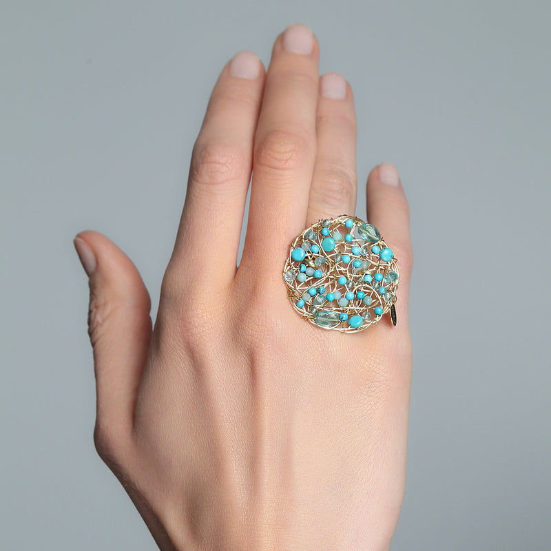 Aura Ring #1 (40mm) - Turquoise Gems Mix