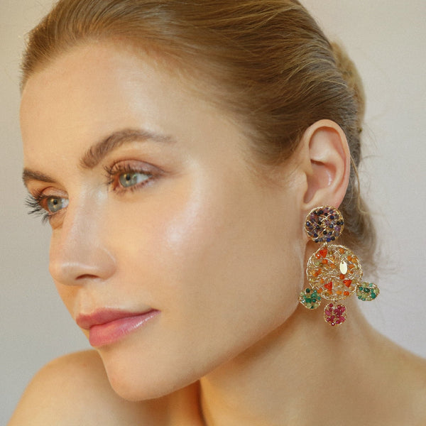 Aura Earrings #3 - Dark Blue, Red, Green, Yellow & Orange Gems Mix - TARBAY