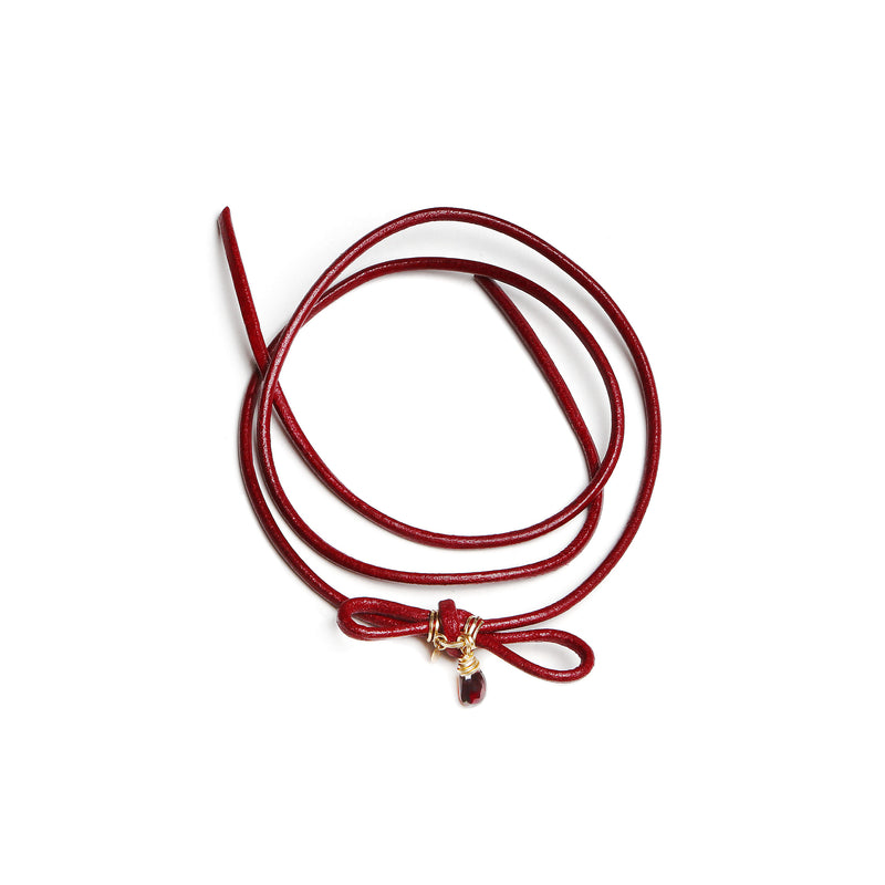 Sheryl Leather Red Necklace