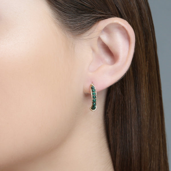 Charlene Half Hoop Button Earrings - Malachite - TARBAY