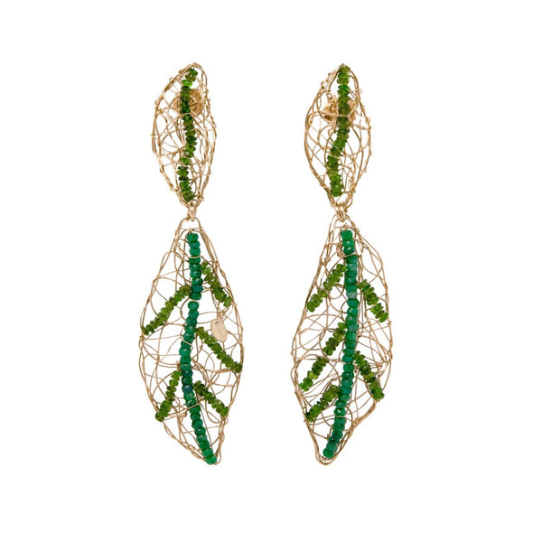 Helecho Dangle Earrings - Tsavorite & Tourmaline - TARBAY