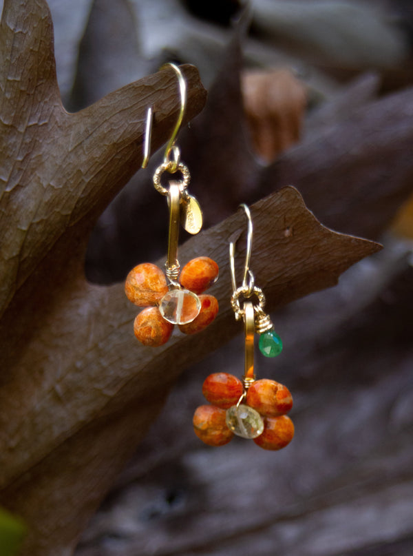 Rocio Dangle Earrings #2 - Citrine, Tsavorite & Calcite - TARBAY