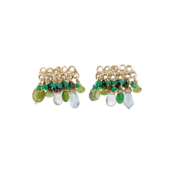 Marisma Earring - Peridot, green onyx, chalcedony, phrinite, versonitte, green amethyst, chrysophase