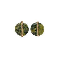 Mauritia Button Earrings - Jasper